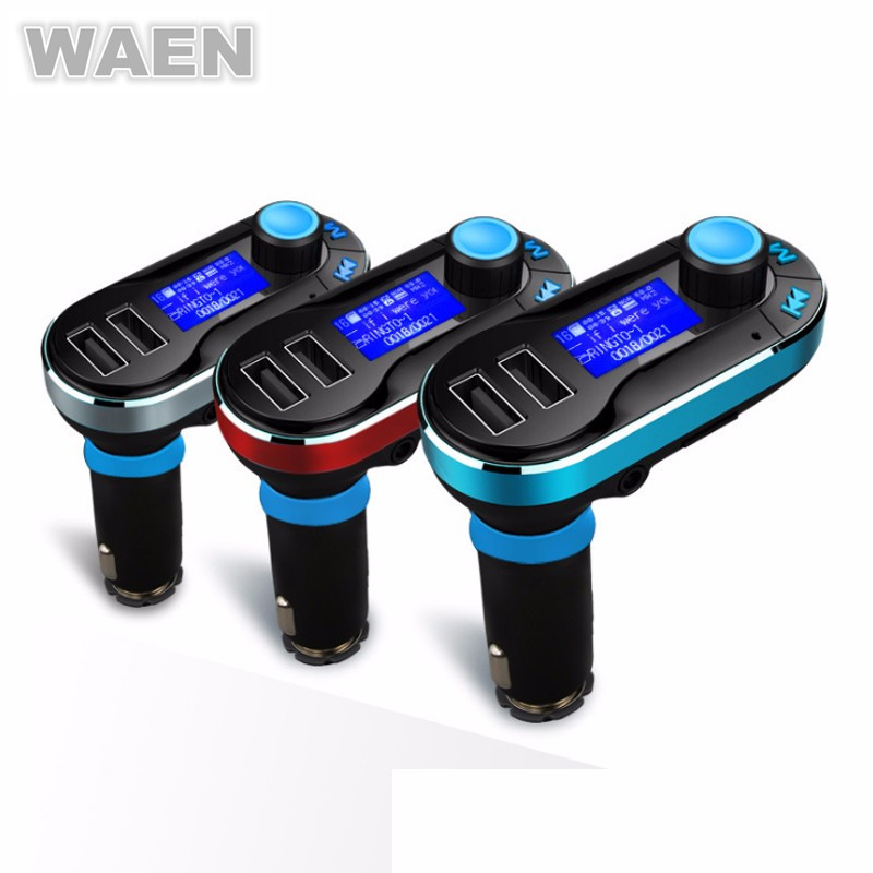 WAEN Bluetooth Handsfree Car Kit Wireless Bluetooth FM Transmitter MP3 Player Car Charger For iPhone 7 Samsung Smart Phone(China (Mainland))