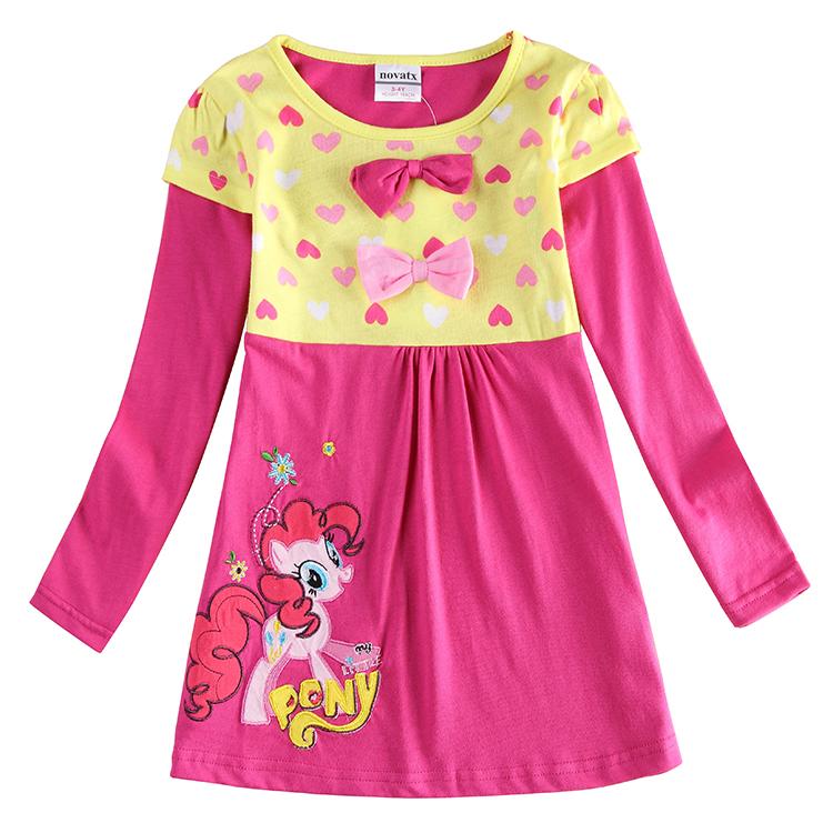 Baby Girl Clothes Cotton Dress Nova New 2015 Cartoon Girls's Knee Length Dresses Kids Clothing Girls Embroidery
