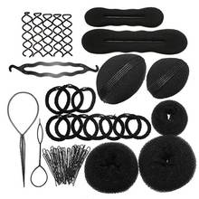 9 In 1 Pro Hair Bun Clip Maker Pads Hairpins Roller Braid Twist Sponge Styling Accessories Tools Kit Set(China (Mainland))