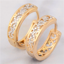 Free Shipping Wholesale Vintage Hollow 18K Two-Tone Gold Plated Hoop Women Earrings No Nickel(China (Mainland))