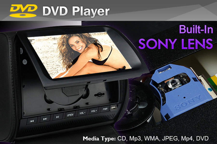 Universal 9 inch SONY LENS Auto Car Headrest DVD Game Player Monitor Pillow Touch screen USB SD 32 Bit Game FM DVD black