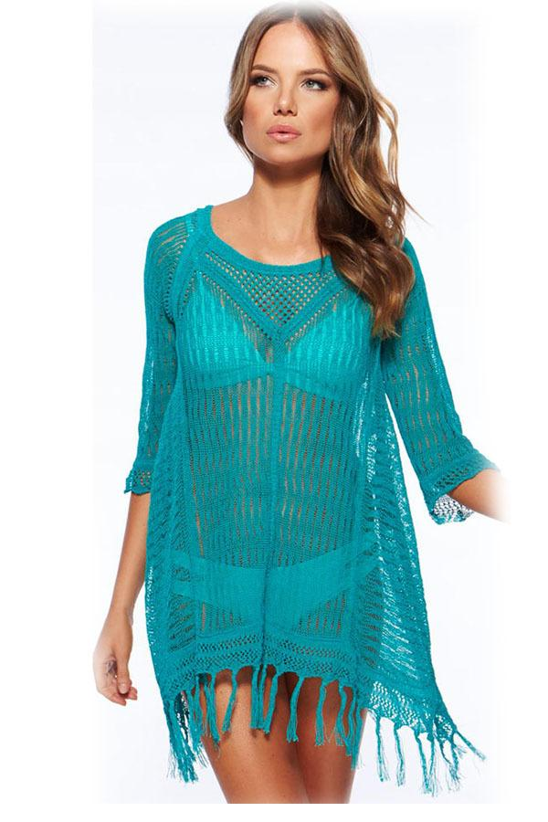 3 colors Sexy Cool Fringe Crochet Beachwear swimsuit summer beach cover up swimming dress for woman bikiny free shipping 41113(China (Mainland))