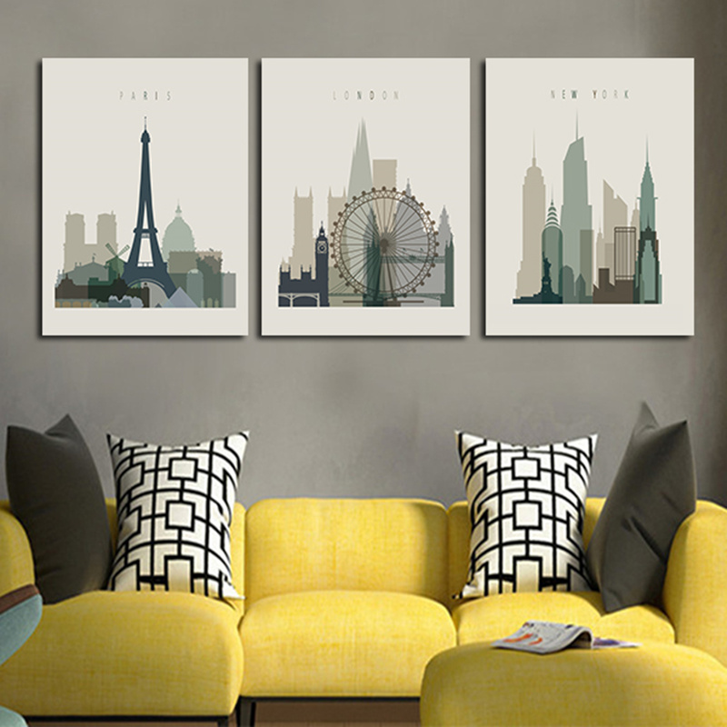2016 wall painting canvas art abstract black white city 3planes paint picture home decor for - Home decor ltd paint ...