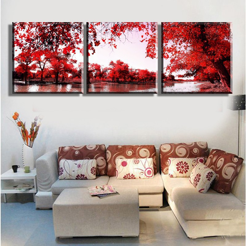 store product  High Quality piece Wall Art red tree lake scenery Oil Painting On Canvas print