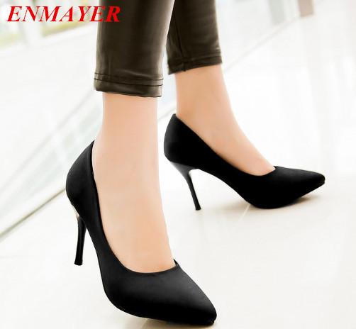 ENMAYER women pumps Thin Heels Closed Toe Pointed Toe Platform pumps Spool Heels Spring / Autumn shoes pumps big size 34-43<br><br>Aliexpress