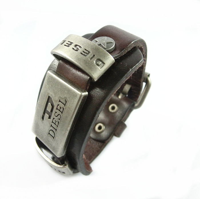 Genuine Leather bracelet men for women retro punk cowhide Bracelets homme 100% hand made pulseras hombre(China (Mainland))