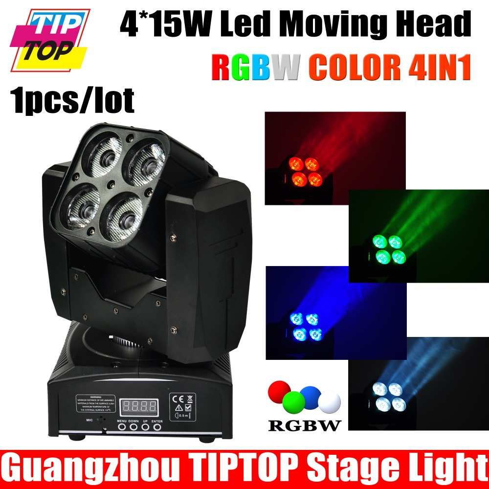 Freeshipping Sample 60W Mini Led Moving Head Light RGBW 4IN1 American DJ Equipment 4pcs 15W Led DMX 4CH 12CH Christmas Decor CE(China (Mainland))