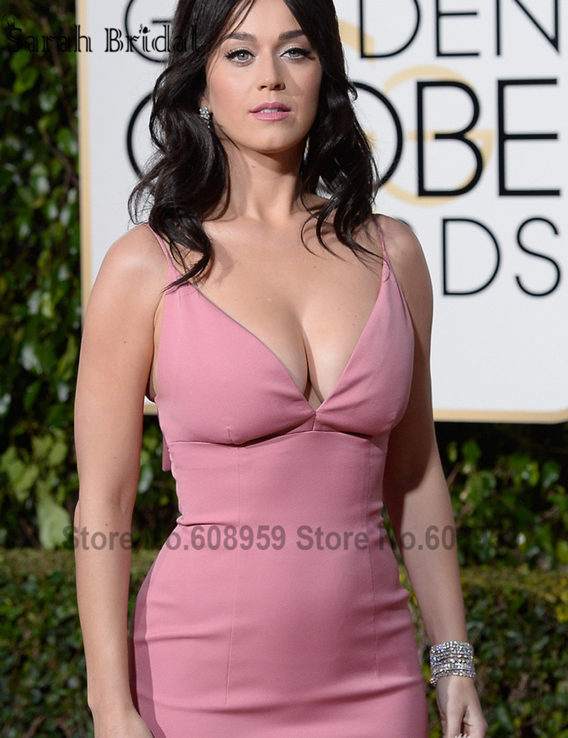 Tías de 25 a 34 años - Página 2 2016-73rd-Golden-Globe-Awards-Sexy-Deep-V-neck-Pink-Katy-Perry-Mermaid-Celebrity-Evening-Dresses