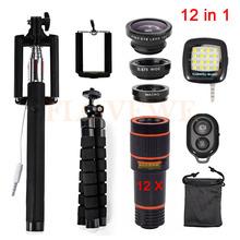 Buy Universal Clip 12in1 12x Zoom Telephoto Lentes 3in1 Fisheye Lens Wide Angle Macro Lenses Mobile Tripod Remote Selfie Flash Light for $19.08 in AliExpress store