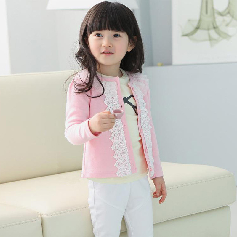 2015 Spring&Autumn Baby Girl Clothings Cardigan Jacket Children Outerwear Girls Kids Lace Coat Long Sleeve Outwear Clothes C20 - SNOW LOVE store
