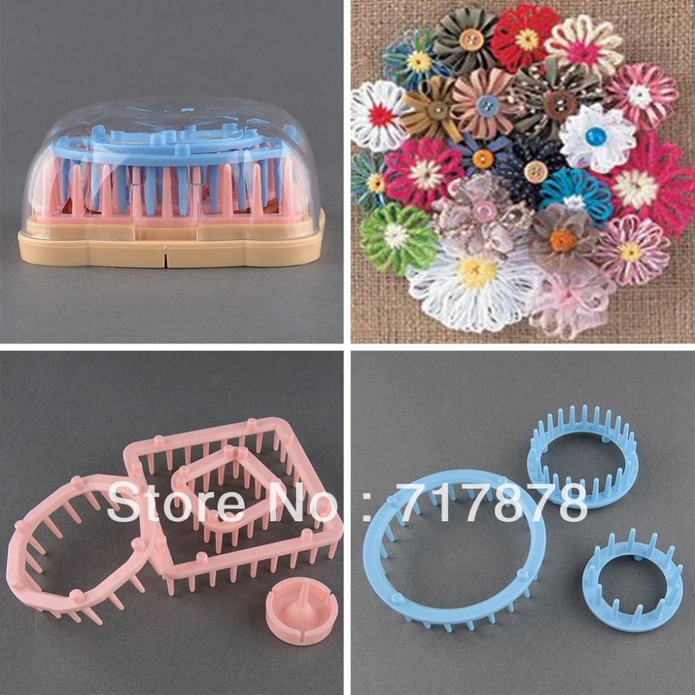 New 6 Sizes Knitting Tool Knit Flower Pattern Tassels Loom Craft Maker Yarn Kit Set Free shipping(China (Mainland))