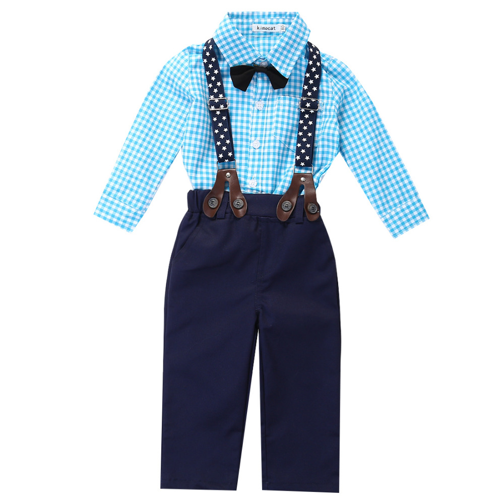 2016 Outfits Baby Boy Autumn font b Plaid b font Shirt Suspender Pants Formal Wedding Outfits