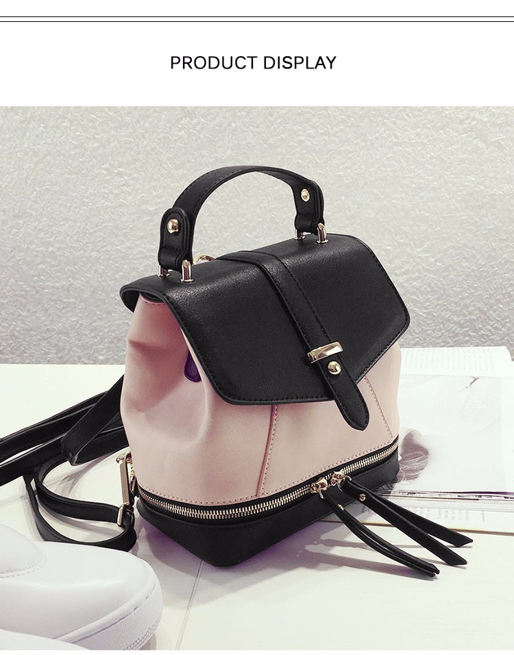 Classy Contrast Color Daypack Ladies Zippers Ornament Shoulder Women Fashion Casual Japan Style Small Crossbody Bag PU Handbag