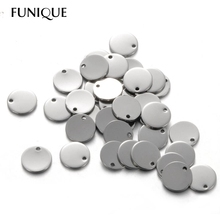 FUNIQUE Stainless Steel Silver Circle Pendants Women Men Necklace Making Jewelry Findings Accessories Charms For Lettering 10PCs(China (Mainland))