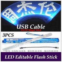 35cm Editable Flashing LED Light Stick with USB cable+32LED for Concert Party Event  digital shook stick 3PCS