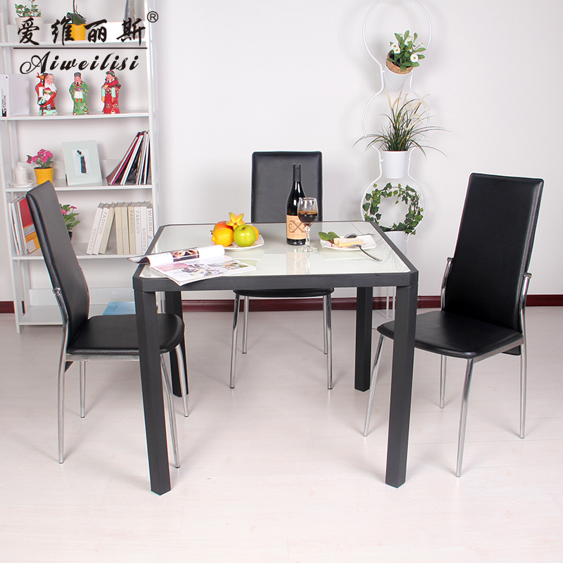 Aiweilisi square table glass dining tables and chairs for Small dinner table and chairs