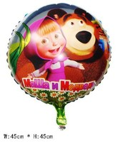 """18"""" inch Round shape Masha Bear Helium balloons Kids birthday party supplies Inflatable toys gifts for children 50pcs/lot"""