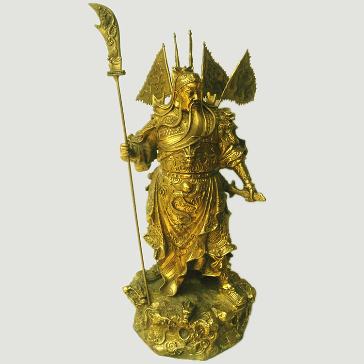Buy A copper statue of Guan Gong, Guan Gong knife set decoration Fortuna Wu Cai town house decoration decoration cheap