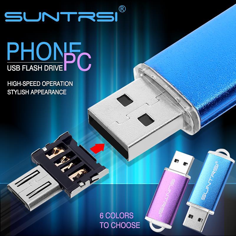 Suntrsi USB Flash Drive OTG Adapter Metal Pen Drive 32GB Pendrive for Smart Phone Android USB Stick Turn into Phone Flash Drive(China (Mainland))