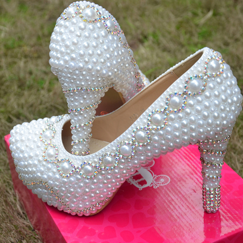 2014 Spring Autumn White Wedding Dress Shoes Fashion Lady Party Prom Shoes Gorgeous Imitation Pearl Rhinestone Bridal Shoes<br><br>Aliexpress