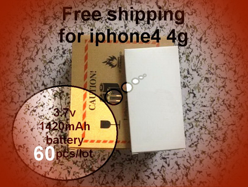 By UPS 60/pcs New OEM 1420mAh 3.7v Li-ion Battery for iphone 4 4g +free shipping(China (Mainland))