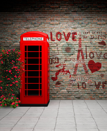 Phone Booth Brick Wall Vinyl Photography Backdrop Custom Photo Prop Backgrounds 5X7ft for Wedding(China (Mainland))