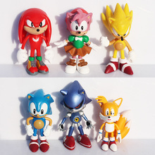 Free shipping 3inch 7cm SEGA Sonic the Hedgehog Figure Toy PVC toy Sonic Characters figure toys brinquedos Doll 6pcs/set(China (Mainland))