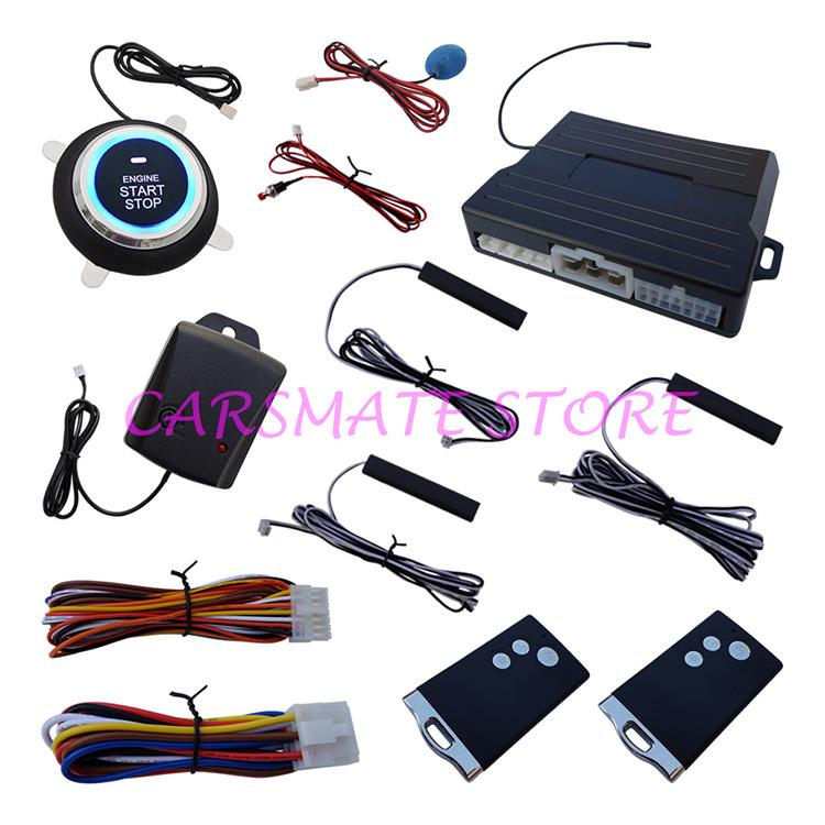 Universal PKE Car Alarm System Push Start Stop Button Passive Keyless Entry Auto Lock Car Door Shock Sensor & Reset Switch(China (Mainland))