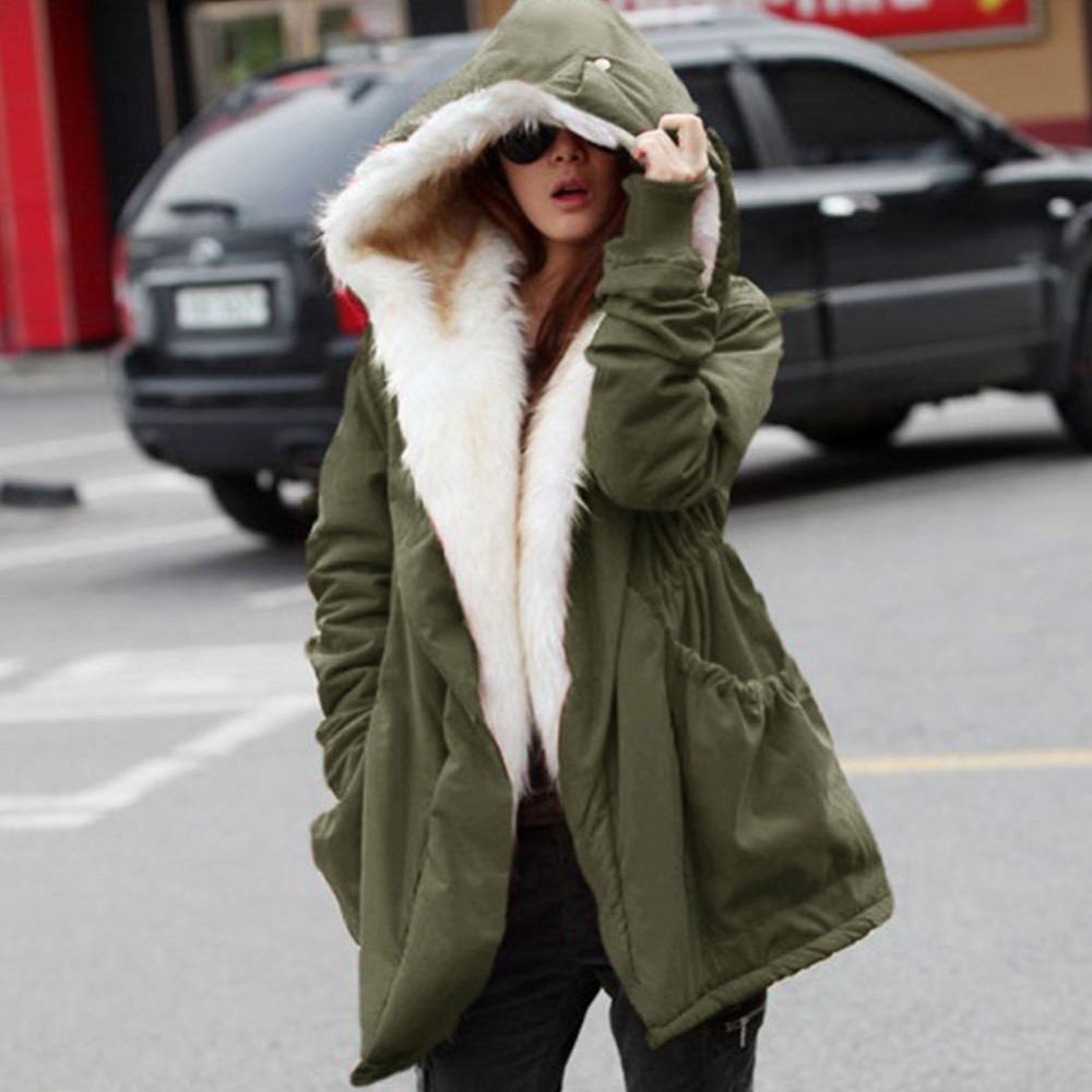 2015 New Winter Wool Jacket Women Coat Warm Casual Girls Outwear Ladies Overcoat Fur Collar Down&Parkas Plus Size 1110