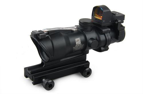 4x32 ACOG style scope w/ mini red dot rifle scope shooting hunting PP1-0159BK(China (Mainland))