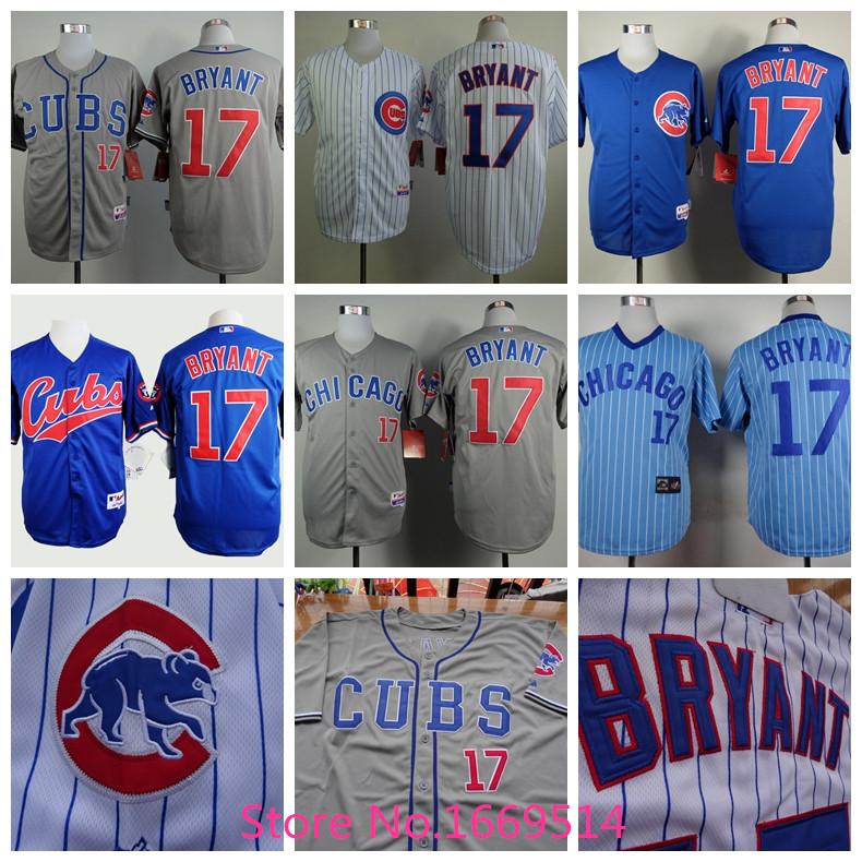 Baseball Chicago Cubs 17 Kris Bryant Jersey White Blue Grey 2015 Stitched Cool Base 6+ Style(China (Mainland))