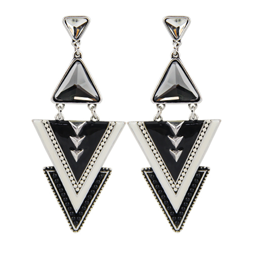 Fashion Ethnic Triangle Earrings Enameling Beads Chunky Crystal Simulated Gemstone Pendant Earrings for Women Girls(China (Mainland))