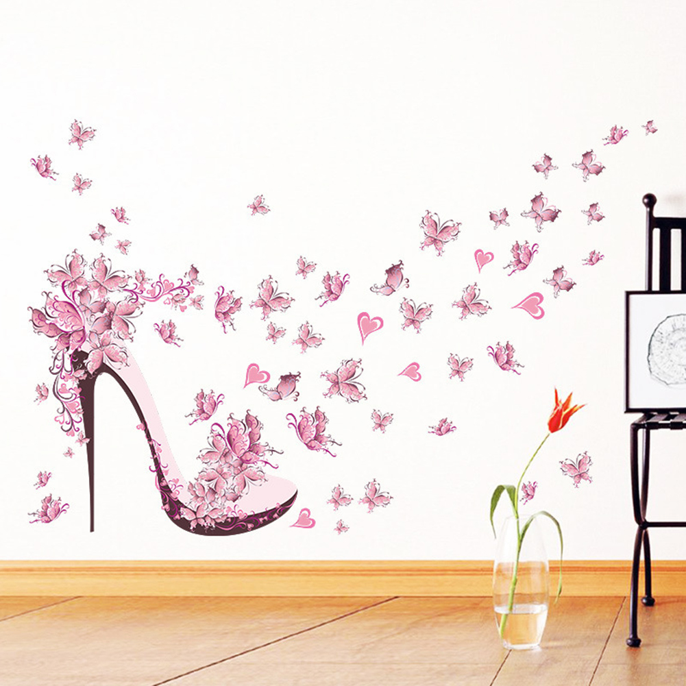 Pink Butterfly High Heel Style Wall Stickers Bedroom Living Room Back Decor 2017 PVC Decals