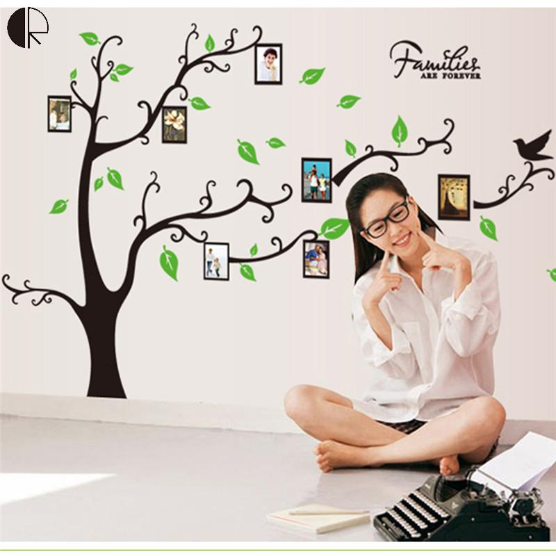 Creative DIY Wall Photo Tree Decorative Wall Stickers 1.7mx1.2m Large Size VinylWall Decal Poster Mural Household Product HH1282(China (Mainland))