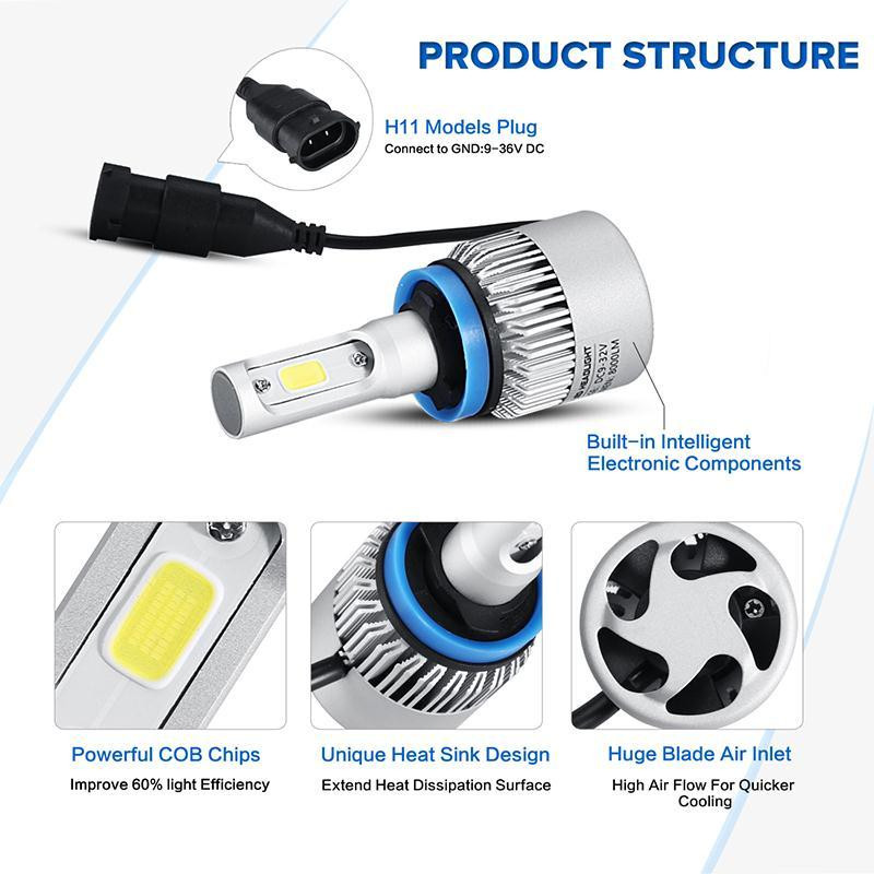 Купить H4/H7/H11 COB LED Фары Автомобиля Лампа Один/Привет-Ло Луч 8000LM 6500 К Авто светодиодные Фары Противотуманные фары для Toyota/Ford/VW/Hyundai/Kia