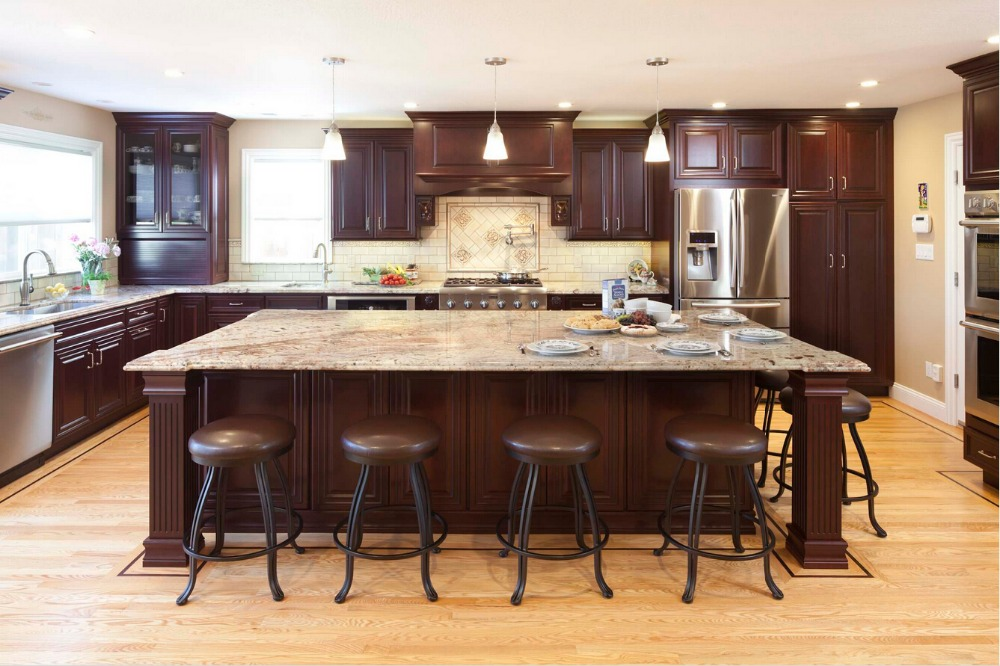 2016 Hot Sales Wood Kitchen Cabinets Cheap Priced Armoires De Cuisine Traditional Kitchen Island With Storage