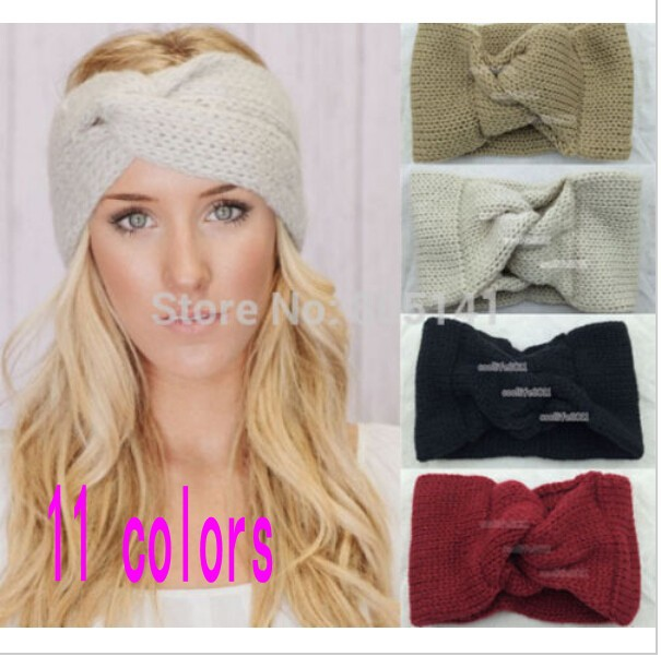 FREE SHIPPING,Knitted Turban headband for women Ear Warmer twist wide hair band(China (Mainland))