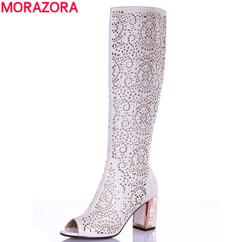 2016 Spring Summer New high quality Microfiber summer knee high boots gladiator peep toe sandals sexy high heels shoes woman<br><br>Aliexpress