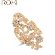Roxi Brand Finger Rings for women Rose Gold/platinum plated Hollow Crystal Plum Flower women wedding wide bride rings 2010411325(China (Mainland))