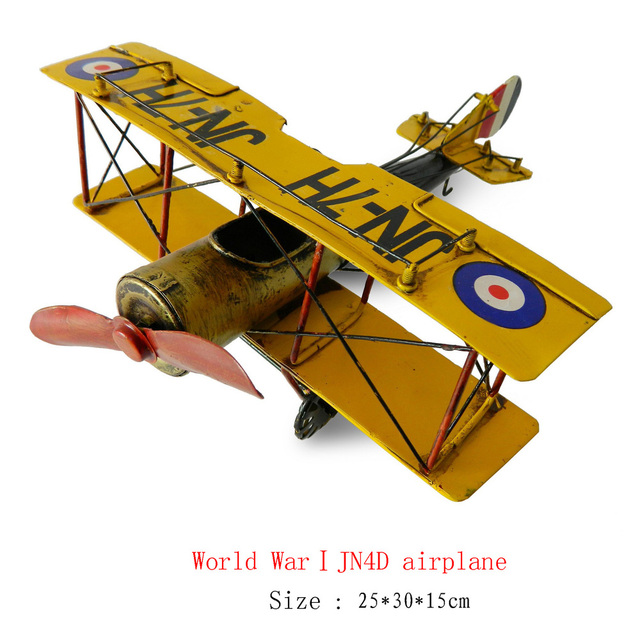 Antique craft small size JN4D  aircraft model handmade pigbank craft home decoration bar coffee house display birthday gift