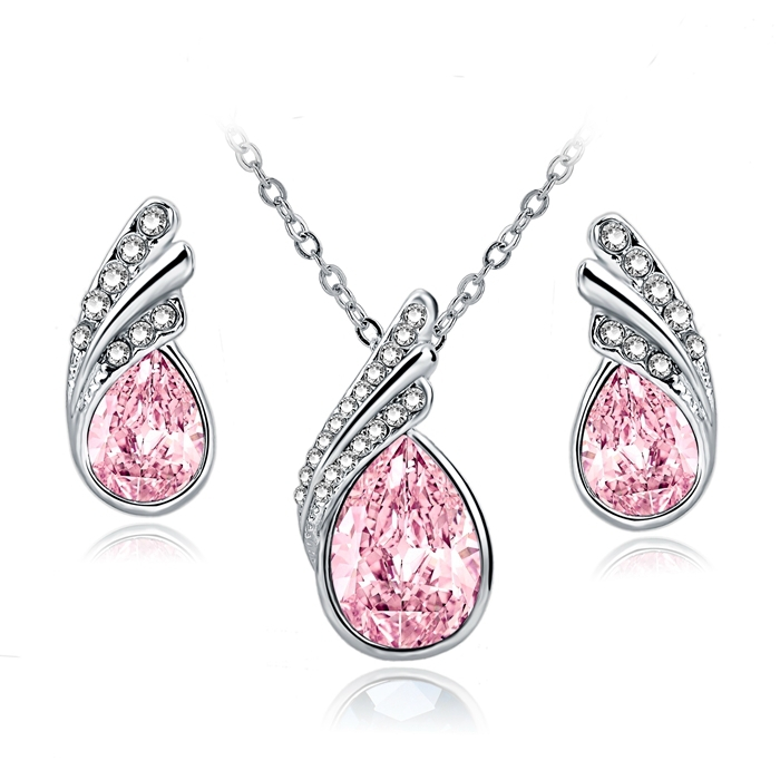 Hot Sale Fashion Gold/Silver Plated Pendant Necklace Set Austrian Crystal Water Drop Wing Stud Earring Jewelry Sets For Women(China (Mainland))