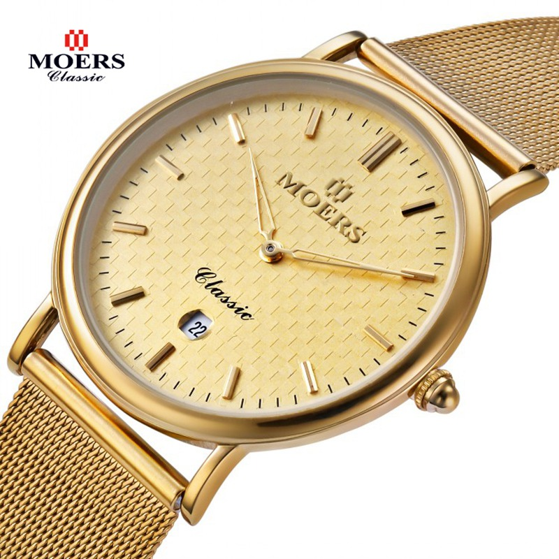 Фотография MOERS brand steel quartz watches with calendar mens fashion leather wristwatches relogio masculino montre homme 2016 CB6005-1