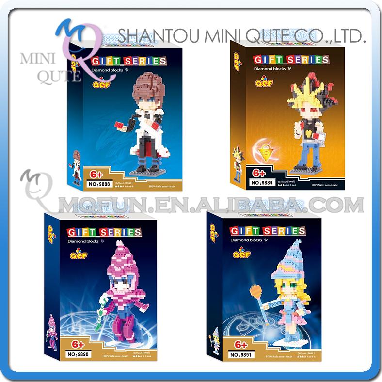 4pcs/lot Mini Qute QCF Kawaii Duel Monsters Yugi Muto Seto Kaiba plastic building cartoon model block educational toy