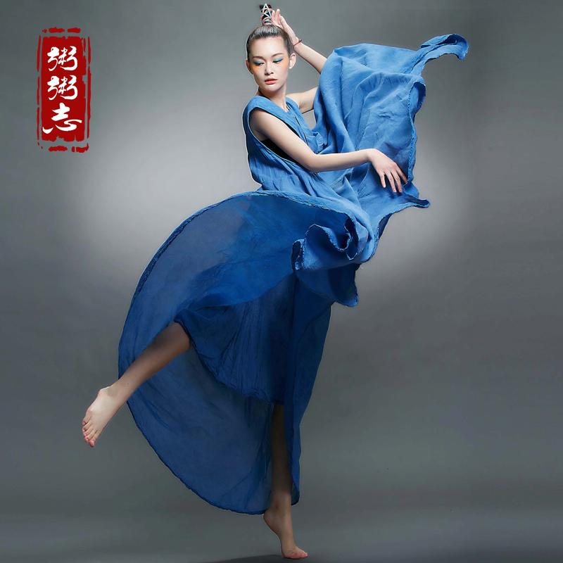 Zhou Zhouzhi 2015 new summer highlights put cotton washed loose dress mopping the floor(China (Mainland))
