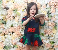 Free shipping retail 3 pieces of clothes + skirt + bag 2016 baby clothing brand ladies baby clothes baby clothes(China (Mainland))