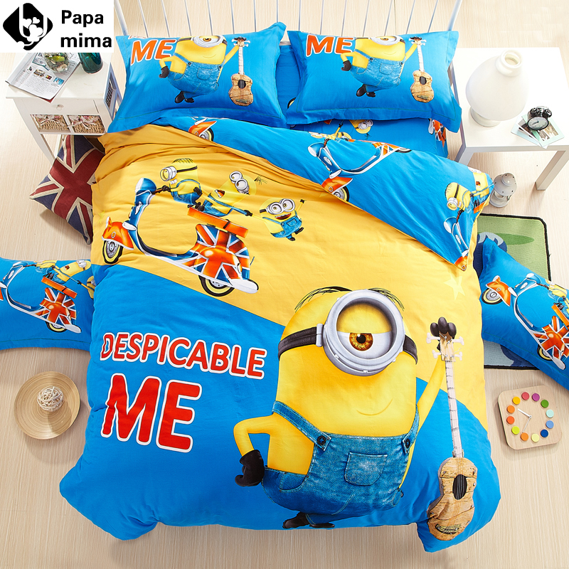 Double Yellow 3d printed cartoon kids minions bedding set 4/3pcs cotton king queen twin size bedclothes bed duvet quilt cover(China (Mainland))
