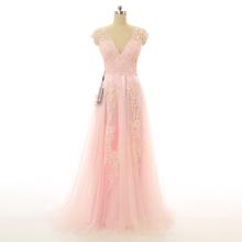 W3170 2015 fashion sheer scollo a v pizzo applique blush abiti da sposa elegante cap maniche da sposa abiti con scollo a v da sposa le donne vestono(China (Mainland))