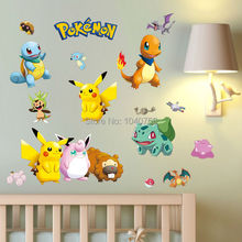 Pokemon Wall Stickers for Kids Rooms Home Decorations Pikachu Wall Decal Amination Poster Wall Art Wallpaper Kids(China (Mainland))