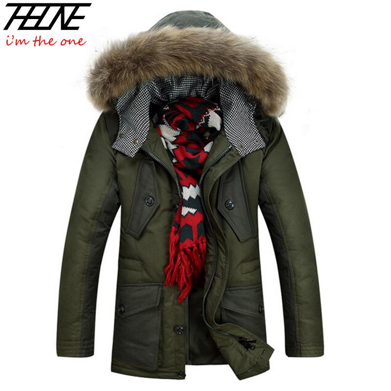 90% White Duck Down Jackets Men Winter Coats Long Parka Natural Raccoon Fur Hooded Warm -40 Degree Parka Brand Winter Jacket Men
