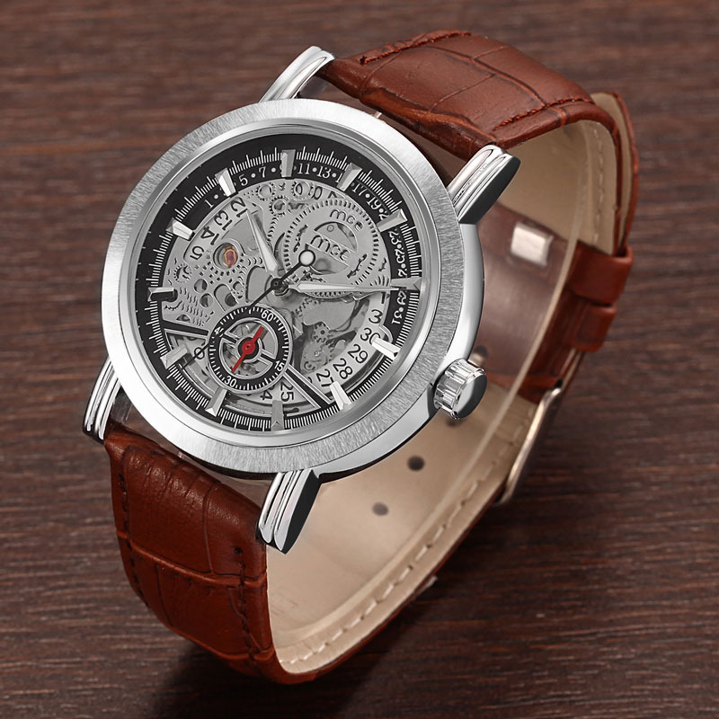 Men's Watches Classic Skeleton Mechanical Watch Men Black Brown Leather Strap Watches relogio masculino(China (Mainland))